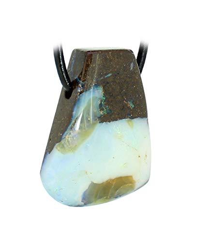 budawi® - Boulderopal Trommelstein Anhänger mit Lederband, Opal im Muttergestein