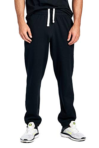ProGo Men's Closed Bottom Casual Regular Fit Fleece Sweatpants with Elastic Waist (Black, X-Large)