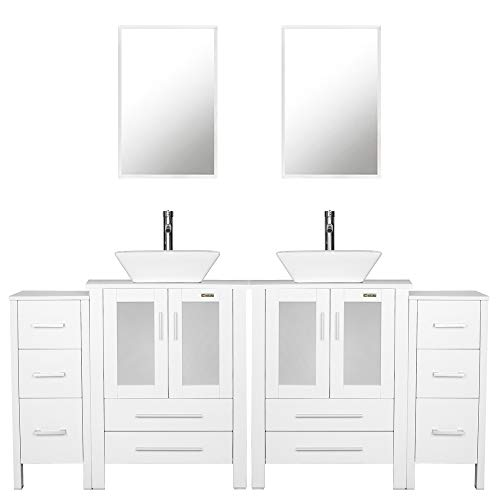 """eclife 72"""" Bathroom Vanity Sink Combo W/White Side Cabinet with Square White Ceramic Vessel Sink, Chrome Bathroom Solid Brass Faucet and Pop Up Drain Combo, with Mirror (2A07 2B02W 2B11W)"""