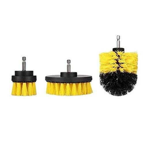 Brochas para limpieza – Juego de 3 cepillos de taladro para limpiar el baño, cocina, azulejos, lechada (3 unidades), color amarillo