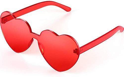 LHSDMOAT Gafas de sol con forma de corazon sin montura Festival Fiesta Gafas