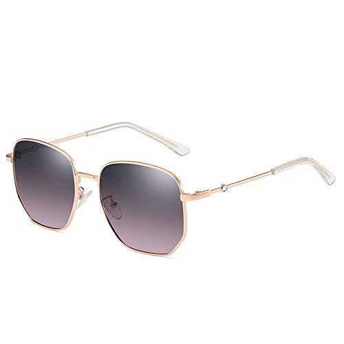 Fenshan223 2021 Nuevas Gafas de Sol Femenina Moda Tendencia Coreana polarizando Lentes Neta roja callejo disparando Gafas de Sol (Size : Golden Frame on Gray Powder)
