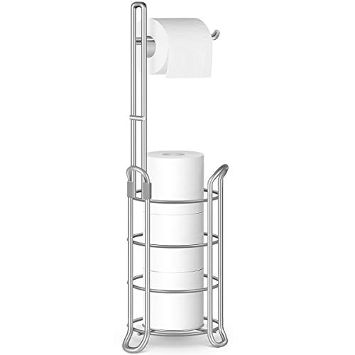 TomCare Toilet Paper Holder Toilet Paper Stand Free-Standing Toilet Tissue Paper Roll Bathroom Storage Shelf and Dispenser for 3 Spare Rolls Metal Wire Bathroom Accessories Storage Organizer Silver
