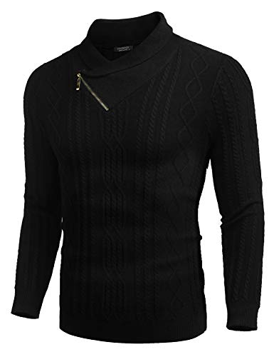 COOFANDY Men's Shawl Collar Sweater Slim Fit Casual Cotton Zip Pullover Cable Knitted Sweaters Black