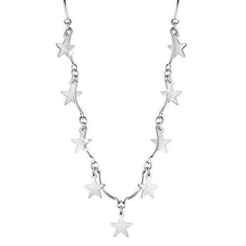 SHEGRACE Collana con cordino a stella Collana in argento sterling 925 placcato platino per donna