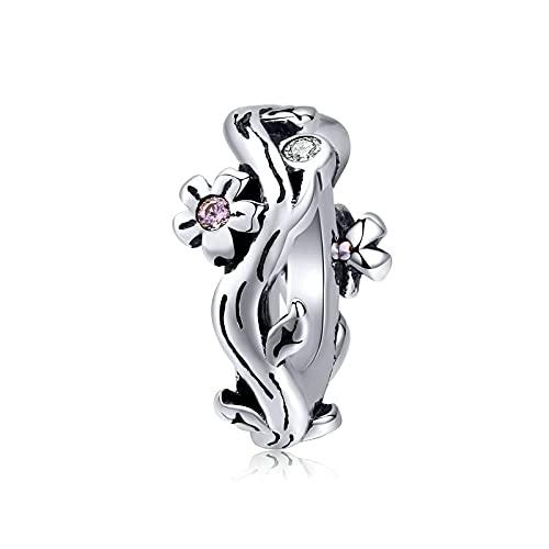 Regalo De Mujer Plata De Ley 925 Sakura Flor De Cerezo Tiny Snake Colgante Charm Beads Fit Original Pulsera Collar con Cuentas DIY Fabricación De Joyas