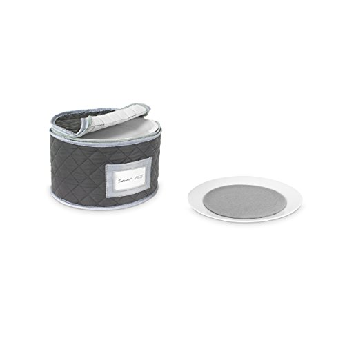 China Storage Quilted Case for Dessert Plate - Small Plate or Saucer - 8.5 inches long x 6 inches height - Gray - Includes 12 Felt Separators
