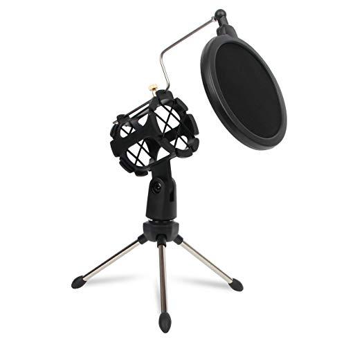 Depusheng Microphone Tripod Stand Foldable Desktop Microphone Bracket with Shock Mount Mic Holder Clip and Pop Filter