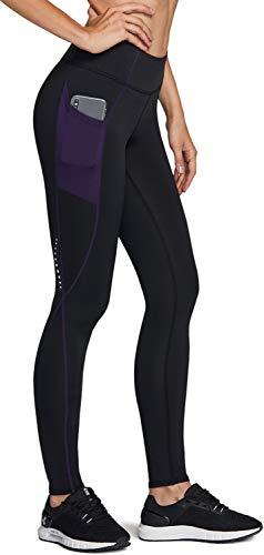 TSLA Women's Thermal Running Tights, High Waist Warm Fleece Lined Leggings, Winter Workout Yoga Pants with Pockets, Side Pocket(xul86) - Black & Purple, X-Small