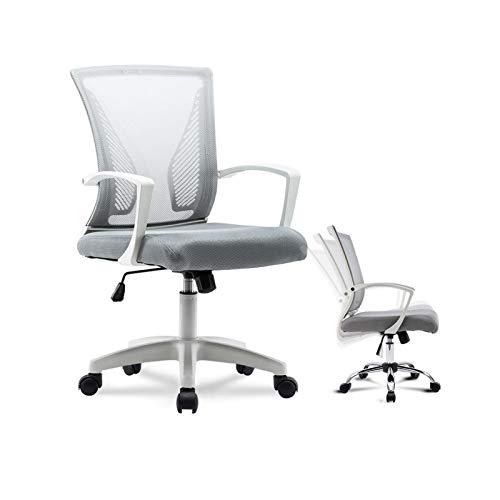 DJDLLZY Sedie da Ufficio con Schienale Medio Sedia della Maglia ergonomica Girevole Supporto Lombare Desk Chair Computer (Nero) (Color : Gray)