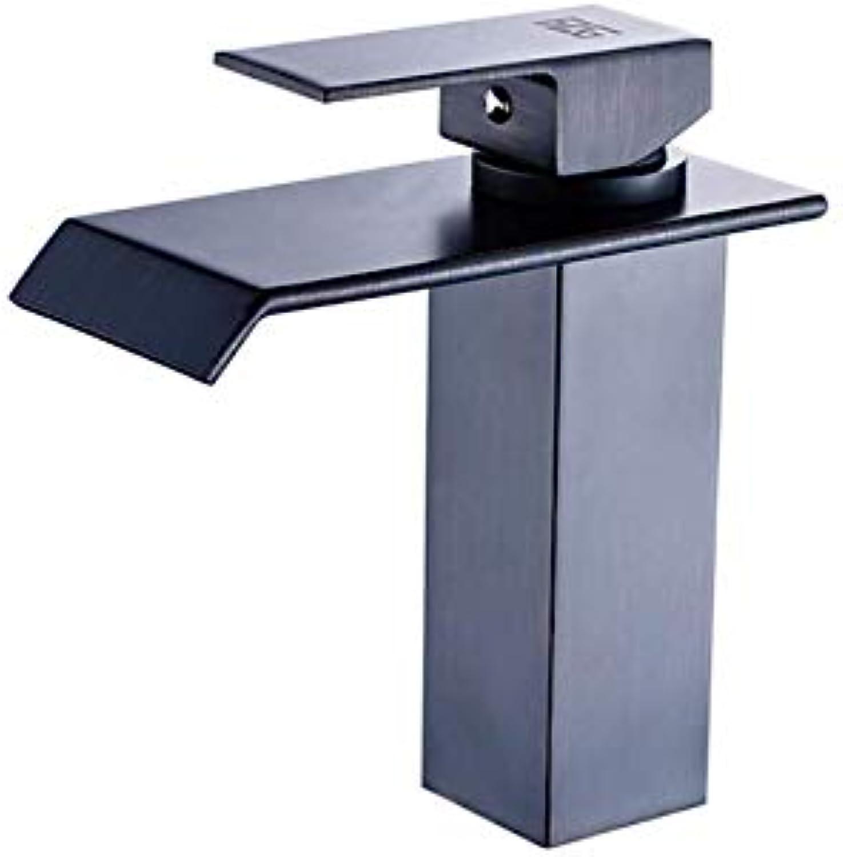 JONTON gold Bathroom Faucet Waterfall Single Handle golden Tap Bathroom Basin Hot Cold gold Faucet