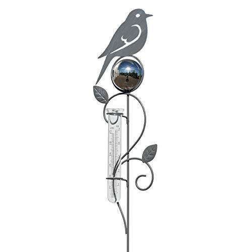 CIM Pflanzenstecker - Regenmesser Vogel - Gesamthöhe 119cm - inkl. Standstab - attraktive Edelrost Dekoration