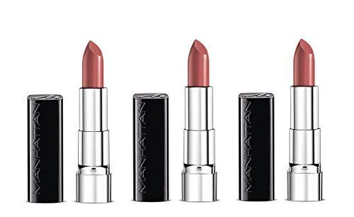 Manhattan Moisture Renew Lipstick, cremiger Lippenstift, feuchtigkeitsspendend, intensiv, langanhaltend (3er Pack) (300 First Class Nude)
