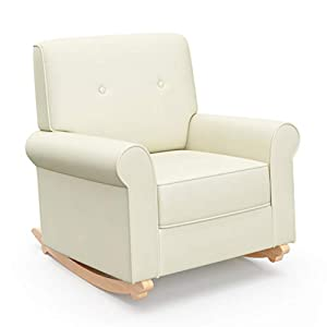Graco Harper Tufted Rocker (Oatmeal) Cleanable Upholstered Nursery Rocking Chair, Converts to Stationary Armchair