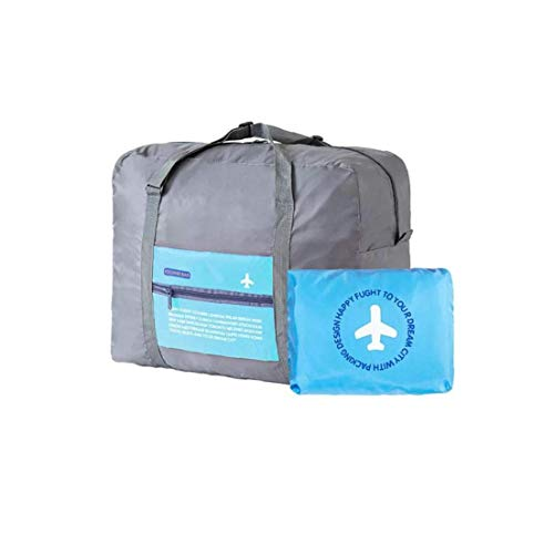 Foldable Travel Duffel Bag Packable Lightweight High Capacity Luggage Oxford Cloth Tote Bag 1 Piece Blue
