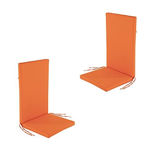 Edenjardi Lot de 2 Coussins pour Fauteuil inclinable d'extérieur Standard Couleur Orange | Dimensions: 48x114x5 cm | Imperméable | Déhoussable | Livraison Gratuite