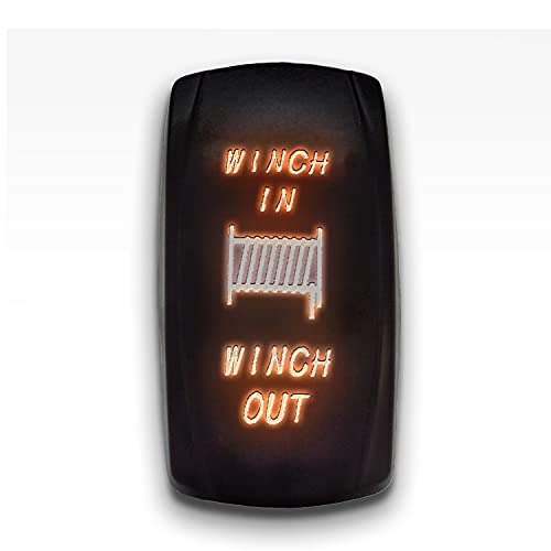 Winch in Winch Out - Orange - STARK 7-PIN Momentary Winch in Out Rocker Toggle Switch Waterproof Black Shell/ON-Off-ON DPDT Illuminated Rocker Switch for Auto Truck Boat Marine- DC 20A 12V/10A 24V