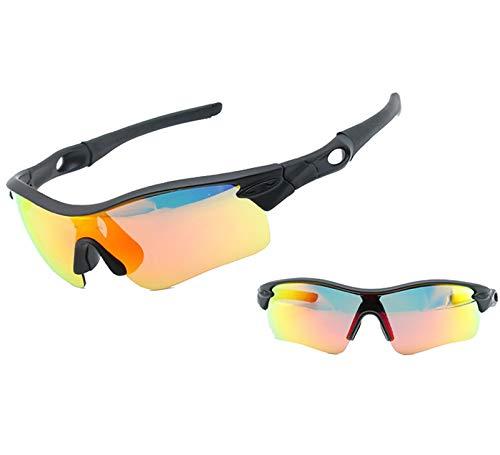 ZLUCKHY Gafas de Sol Polarizadas, Gafas de Ciclismo con 4 Lentes Intercambiables UV400 Bicicleta Montaña, Gafas de Sol Deportivas,100% de Protección UV (Color : Black-B)