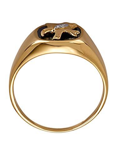 Diemer Gold Herren 585 Gelbgold Ring mit Achat in Schwarz