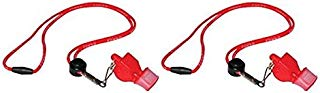 Fox 40 Classic Cushion Mouth Group Sports and Safety Loud Whistle with Lanyard, Red (2 Pack)