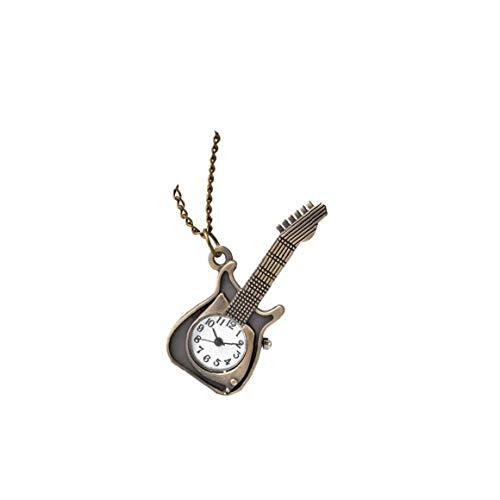 Unisex-Taschen-Uhr Analog-Quarz-bewegungs-Taschen-Uhr-Gitarren-Form-taschenuhr Mit Kette Bronze Für Smart Uhren