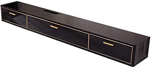 Plank drijvende tv-wandconsole medium console tv-standaard entertainmentkast met laden en open plank voor kabelboxen router afstandsbedieningen dvd-speler spelconsoles 120 x 24 x 18 cm-zwart