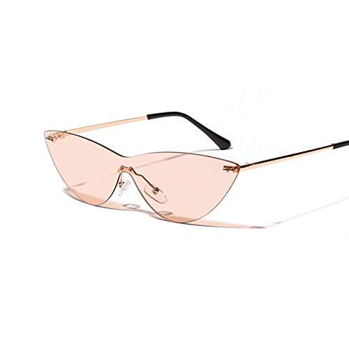 Sunglasses Nuevas Gafas De Sol Siameses De Ojo De Gato Sin Montura Vintage para Mujer, Gafas De Espejo Rosa Transparentes Retro para Mujer 1