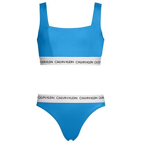 Calvin Klein Chicas CK Logo-Swim Bralette/Bikini Set, Azul Aster Azul Aster Age 8-10