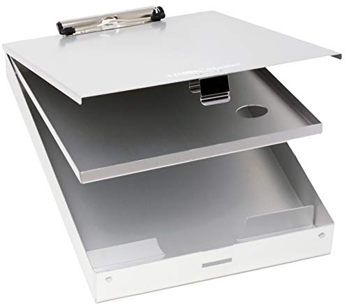 Think2Master Aluminum Dual Storage Clipboard. Durable & Sleek.. Dual Tray Compartments Provides More Storage and Sturdiness and it Holds 300 Letter Sized Paper, Low Profile Clip Holds 50 Paper.