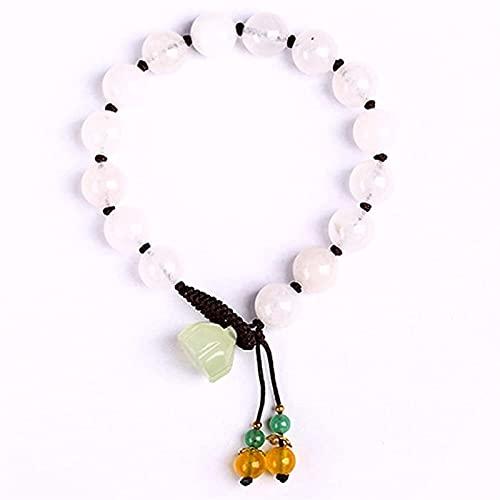 KEEBON 10 mm círculo Individual Blanco calcedonia Feng Shui Pulsera Handwoven String Lotus Colgante Accesorios para Hombres/Mujeres Buena Suerte Riqueza Paz Paz