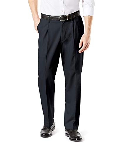 Dockers Men's Relaxed Fit Signature Khaki Lux Cotton Stretch Pants-Pleated D4, charcoal heather, 34W x 29L