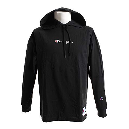 [チャンピオン] パーカー ロングTシャツ 長袖 フーデッドTシャツ バイカラージョックタグ スクリプトロゴ刺繍 C3-M414 メンズ ブラック S