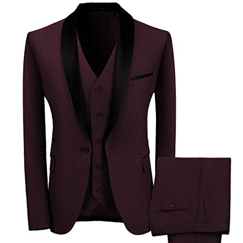 WEEN CHARM Men's 3-Piece Suit Slim Fit Shawl Lapel Dress...