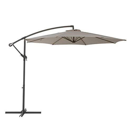 """10"""" Patio Umbrella with Solar LED Lights - Collapsible Garden Canopy with Tilt and Crank - Energy Saving and Waterproof Sunshade Cover for Backyard Porch Table   24 Bulb Lighting Cantilever (Grey)"""
