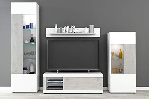 Froschkönig24 Paisley 2 Wohnwand Anbauwand Wohnzimmer Weiß/Betonoptik, LED-Beleuchtung:mit LED-Beleuchtung