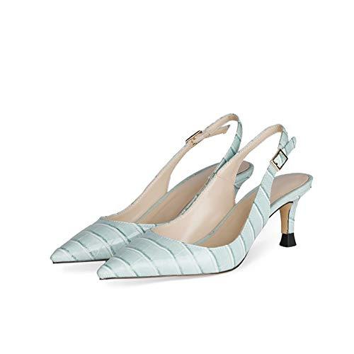 SHXITAYNB Damen High Heels, Neue Einfarbige Lackleder Sandalen Mit Spitzen Zehen Schlangenmuster Niedriger Absatz (Gelb, Hellblau, Schwarz),Light Blue,41