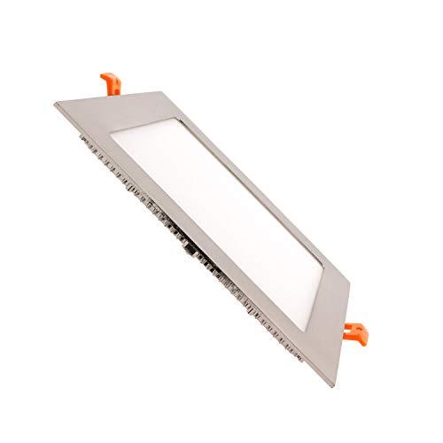 LEDKIA LIGHTING Placa LED Cuadrada SuperSlim 18W Silver Corte 205x205 mm Blanco Neutro 4000K - 4500K