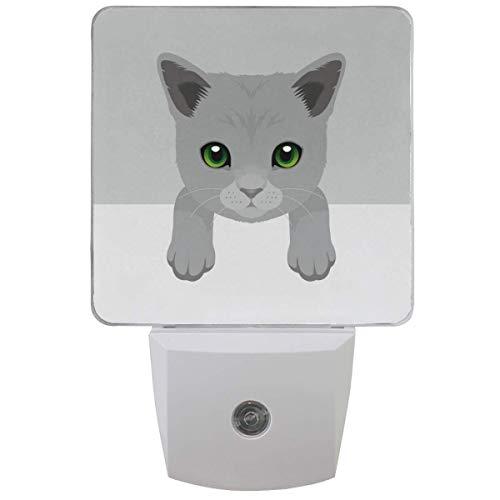 Russe Bleu Kitty Mignon Chien Veilleuse Plug in Set de 1 Garçons Filles Bébés, Veilleuses Animales Auto Motion Senor