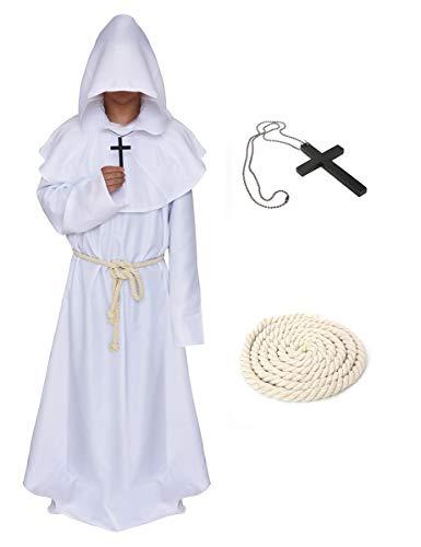 LATH.PIN Cosplay Capa Medieval Vestido Halloween Vestido con Capucha Disfraz de Frate Vestido Carnaval Monaco Color blanco. XXL
