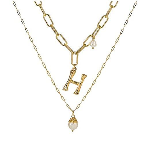 WEIYIing Collar Colgante de Perlas Barroco de Aguas Dulce Natural para Las Mujeres de Color Oro Nombre de la Letra Grande Nombres Iniciales