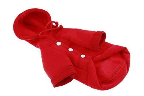 WYHP hond kat hoodie huisdier herfst en winter warme mantel huisdier hond jurk wintermantel doppen kat met hoed rood oranje