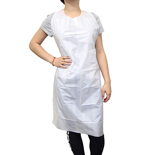 [100 Pack] Disposable Aprons - 28 x 46 Inches White Heavy Duty Large Long Waterproof Grease-Resistant Plastic Aprons for Adults, Men and Women - Ideal for Cooking, Dishwashing, Painting, and Cleaning