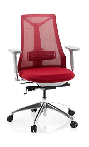 hjh OFFICE 731418 Profi Bürostuhl FALUN Grey Stoff/Netz Rot Drehstuhl ergonomisch, Armlehnen & Lordosenstütze verstellbar
