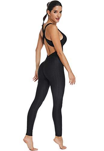 STARBILD Tuta Sportiva Donna AntiCellulite Push Up Sexy Vita Alta Senza Maniche Tute 2 Pezzi Reggiseno Sportivo + Leggins Lunghi Jumpsuit Abbigliamento Ginnastica Yoga Bodysuits, C-Nero M