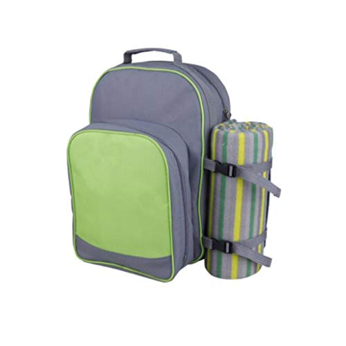 Bolso de Mochila de Picnic para 2 Personas con Compartimento más frío, Manta de Picnic, Placas y Cubiertos (Color : Light Green, tamaño : 28 * 20 * 40cm)