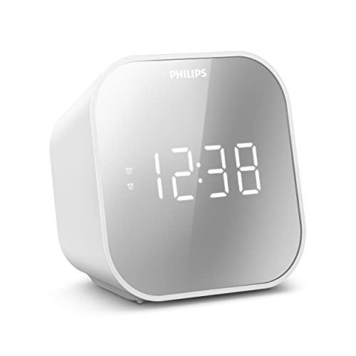 Despertador Philips con Radio, con Pantalla de Espejo para la cabecera, Radio Digital con Doble Alarma, Temporizador para Dormir y función de repetición, batería portátil de Reserva, Radio con USB