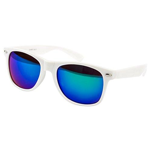 Ciffre Sonnenbrille Nerdbrille Nerd Retro Look Brille Pilotenbrille Vintage Look - ca. 80 verschiedene Modelle Weiß Blau Lila Verspiegelt