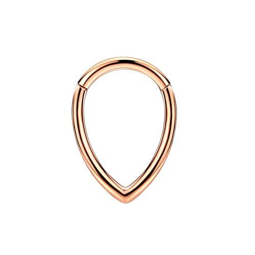 FANSING 316L Surgical Steel Septum Ring 16g 8mm Teardrop Septum Hoop Rose Gold Plated Hinged Triangle Septum Ring for Women 16 Gauge Septum Jewelry 8mm Septum Nose Rings Triangular Clicker