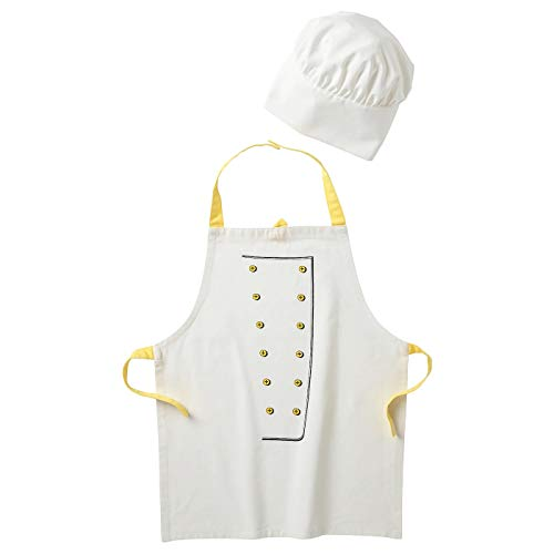 My- Stylo Collection - Delantal Infantil con Gorro de Chef, Color Blanco y Amarillo, Longitud 57 cm, Material: 100% poliéster