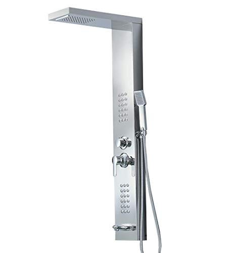Douchearmatuur waterval regen douchepaneel zilver in douchesysteem wanddouche met massage spa douchekop douche zilver Zilver.